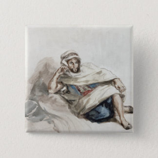 Seated Arab 2 Inch Square Button