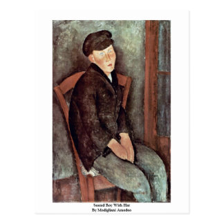 Seated Boy With Hat By Modigliani Amedeo Postcard
