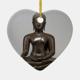 Seated Buddha - 15th century Ceramic Heart Ornament