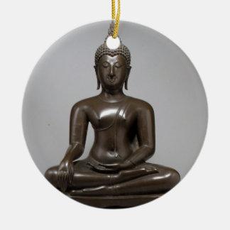 Seated Buddha - 15th century Round Ceramic Ornament