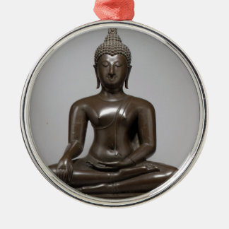 Seated Buddha - 15th century Silver-Colored Round Ornament