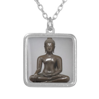 Seated Buddha - 15th century Silver Plated Necklace