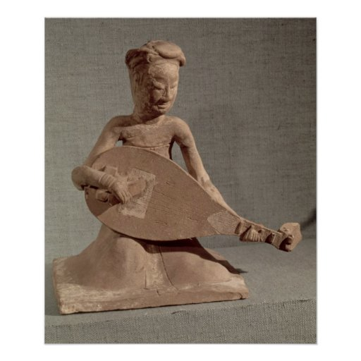 Seated musician playing a lute, from print