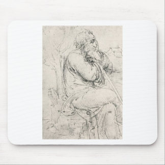Seated old man mouse pad