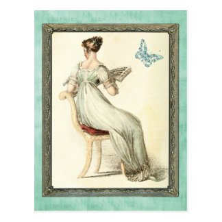 Seated Regency Lady - Turquoise Postcard