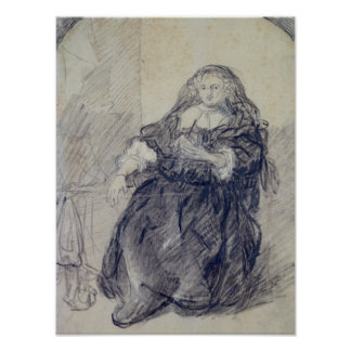 Seated Saskia with a letter in her left hand Print