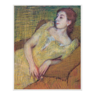 Seated Woman in a Yellow Dress, Edgar Degas Poster