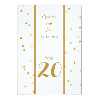 Seating Card,list behind,confetti gold,script gold Card
