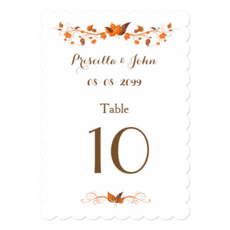 Seating Card, Place card, list behind, Fall Leaves Card