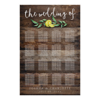 SEATING CHART 121-160 | Rustic Wood Lemon Wedding