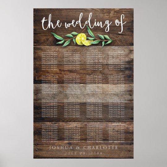 SEATING CHART 121-160 | Rustic Wood Lemon Wedding