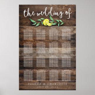 SEATING CHART 121-160   Rustic Wood Lemon Wedding Poster