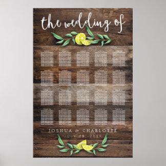 SEATING CHART 151-200   Rustic Wood Lemon Wedding Poster