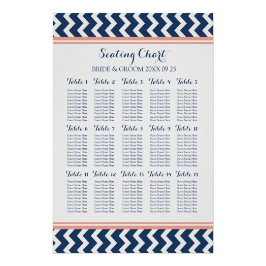 Seating Chart 15 Table 150 Guest Blue Chevron