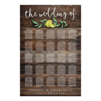 SEATING CHART 201-250 | Rustic Wood Lemon Wedding