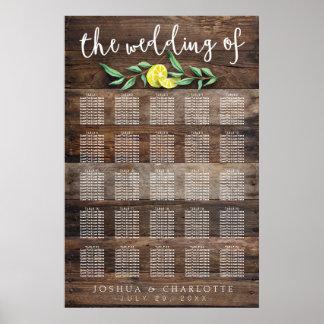SEATING CHART 201-250   Rustic Wood Lemon Wedding Poster