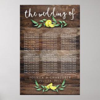 SEATING CHART 31 - 60   Rustic Wood Lemon Wedding Poster