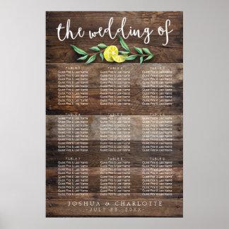 SEATING CHART 61 - 90   Rustic Wood Lemon Wedding Poster