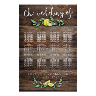 SEATING CHART 81-120 | Rustic Wood Lemon Wedding