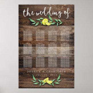 SEATING CHART 81-120   Rustic Wood Lemon Wedding Poster