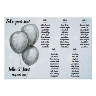 Seating Chart Poster - BW Balloons Design