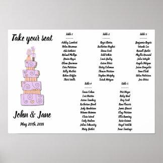 Seating Chart Poster - Wedding Cake Design