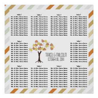 Seating fall autumn tree stripes poster
