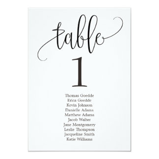 Seating Plan Table Card Lovely Calligraphy
