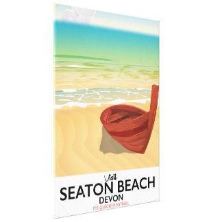 Seaton Beach Devon vintage seaside poster Canvas Print