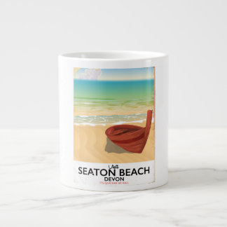 Seaton Beach Devon vintage seaside poster Large Coffee Mug
