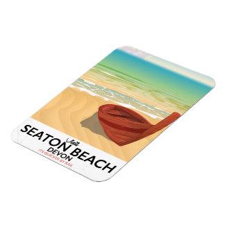 Seaton Beach Devon vintage seaside poster Magnet