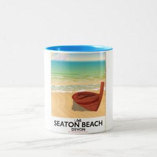 Seaton Beach Devon vintage seaside poster Two-Tone Coffee Mug