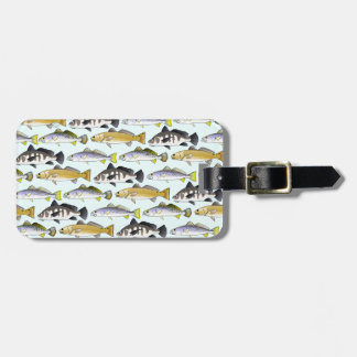 Seatrout and Drum Pattern in blue Bag Tag