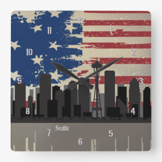 Seattle American Cities CityScape Wall Clock