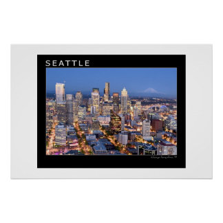 Seattle at Night Poster
