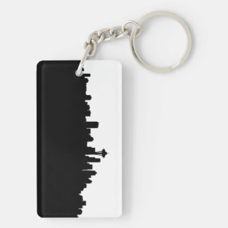 seattle city cityscape black silhouette america us keychain