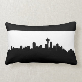 seattle city cityscape black silhouette america us lumbar pillow