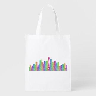 Seattle city skyline grocery bag