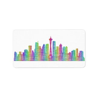 Seattle city skyline label