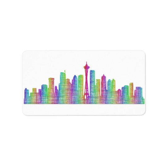 Seattle city skyline label