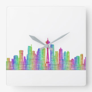 Seattle city skyline wallclocks