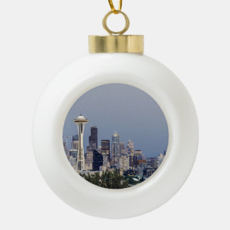 Seattle cityscape ceramic ball christmas ornament