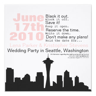 Seattle Cityscape Save the Date Card