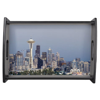 Seattle cityscape serving tray