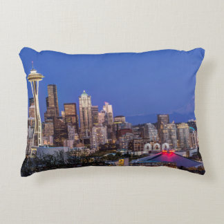 Seattle, Downtown and Mt. Rainier at Twilight Decorative Pillow