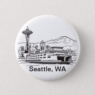 Seattle Ferry Washington State Line Art 2 Inch Round Button