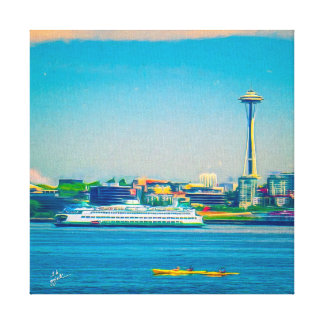 Seattle from Alki Point Colorful Watercolor Style Canvas Print
