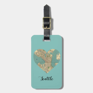 Seattle Heart Map Luggage Tag