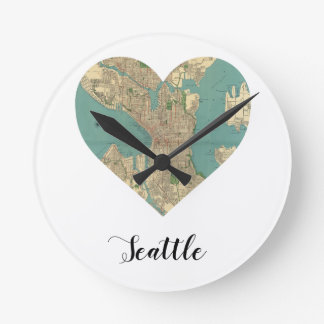 Seattle Heart Map Wall Clocks