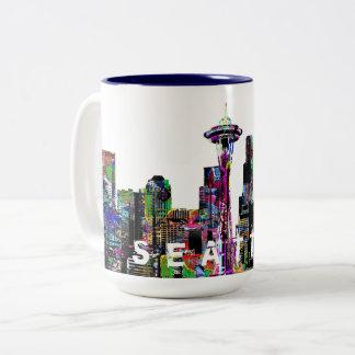 Seattle in graffiti Two-Tone coffee mug